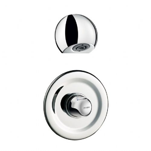 Delabie 790909 TEMPOMIX Round Recessed Push Time-Flow Vandal-Resistant Shower Kit